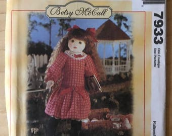 McCalls 7933 - Betsy McCall Doll with Schoolgirl Dress - Size 18 Inch Tall