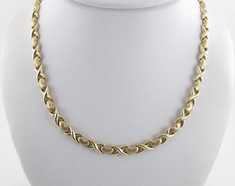 14K Yellow Gold Women's Necklace - Yellow God X Heart Necklace - Yellow Gold Hugs And Hearts 17 Inches  21.6 grams