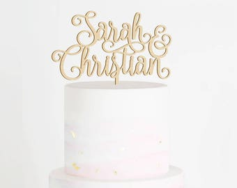Personalized Wedding Cake Topper, Custom Name Cake Topper, Custom Cake Topper, Engagement Cake Topper, Calligraphy Cake Topper