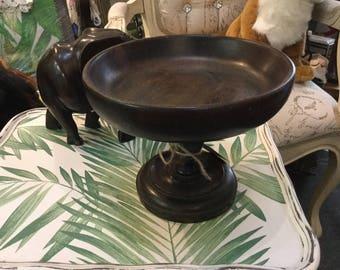 Art Deco wooden pedestal dish