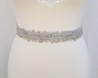 Luxury bridal belt, silver wedding belt, bridal belt, wedding dress belt, embellished belt, diamante belt, sparkly belt, wedding belt, LINDA