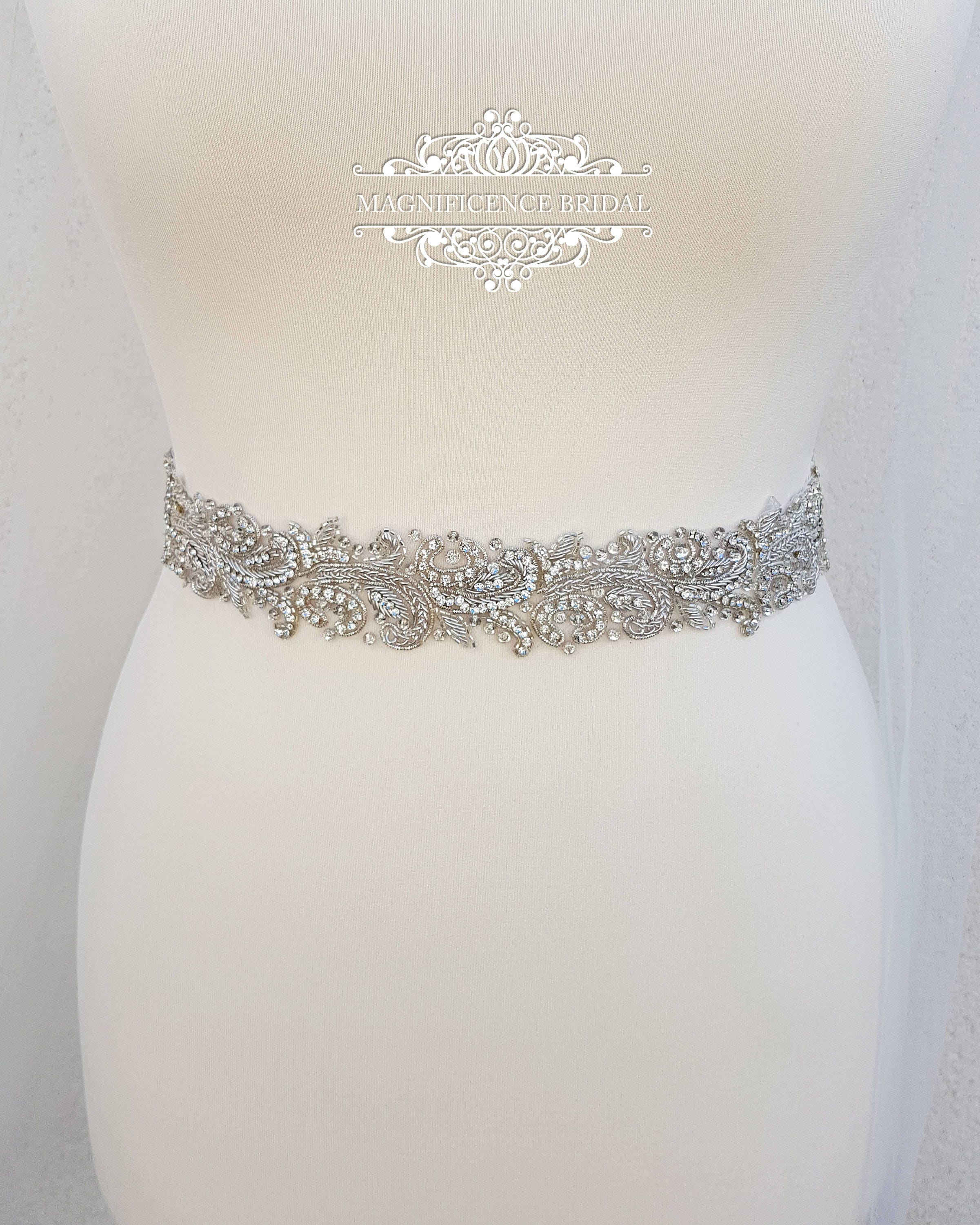 Luxury Bridal Belt Silver Wedding Dress Embellished Diamante Sparkly LINDA