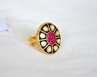 Antique Kundan meenakari mughal statement ring | Indian Jewelry | Indian ring gold ring