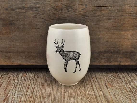 Handmade Porcelain wine tumbler with white-tailed drawing Canadian Wildlife collection