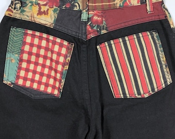 Vintage 80s Deadstock High Waist Black Patchwork Mom Jeans Size 7 Fits Womens XS (Measures 25x30)
