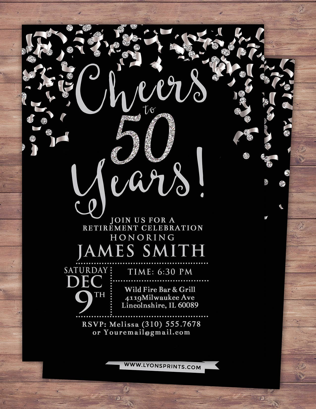 Retirement party, Cheers invitation, 21st, 30th, 40th, 50th, 60th ...