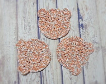 Set of 3,Crochet tea mats, Coasters bear orange