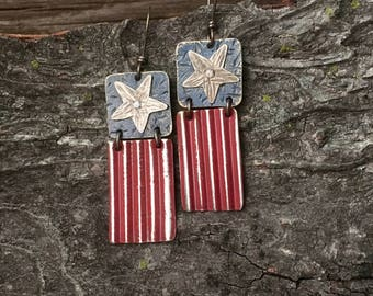 Americana earrings, red and blue flag, riveted layered silver earrings