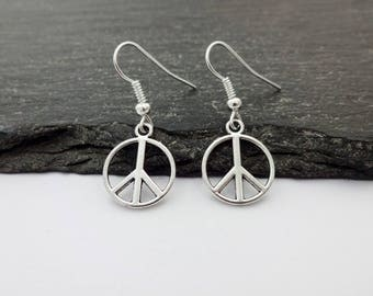 Peace Sign Earrings, Charm Earrings, Peace Earrings, Peace Gift, Peace Symbol, Peace Jewellery, Peace Jewelry, Drop Earrings