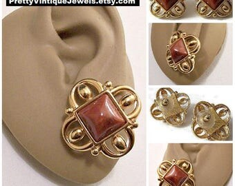 Monet Red Rust Diamond Pierced Earrings Gold Tone Vintage Large Square Open Filigree Scroll Bead Ends