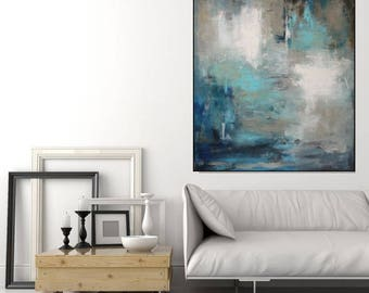 Abstract Painting Canvas/ Large Wall Art Abstract Art/ Large Painting/ Blue Wall Art Contemporary Canvas Art Original Painting, Christovart