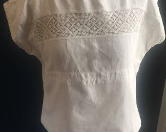 Women's clothing unique top made from antique lace cloth 1920s and French linen, heirloom cloth french vintage linen unique custom made boho