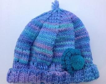 Trendy Wool Hand-Knit Baggy Beanie , Acrylic Wool Beanie ,Crochet Flower Beanie ,Winter Hat, Chunky Hat, Knit Accessories