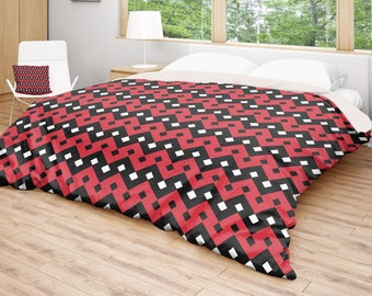 Geometric Duvet Cover, Black Red Bedding, Patterned Duvet, Modern Bed Cover, Geometric Decor, King Queen Full Twin, Size, Double Size
