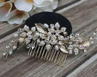 FAST SHIPPING!!! Gold Bridal Hair Comb, Gold Wedding Hair Comb, Crystal Hair Comb, Swarovski Hair Comb, Headpiece, Crystal Headpiece,