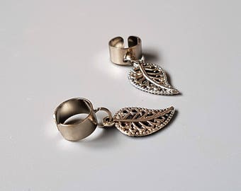 Simple leaf ear cuff, silver tone, adjustable earcuff, cartilage earring, helix cuff, nature inspired jewelry, simplistic jewellery, boho