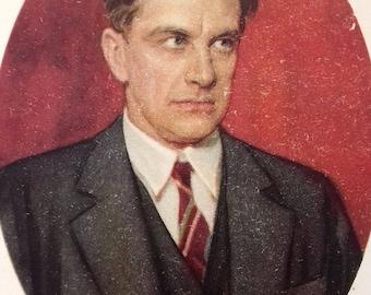 """Soviet Postcard - Artist S. Bondar """"Vladimir Mayakovsky"""", 1955"""