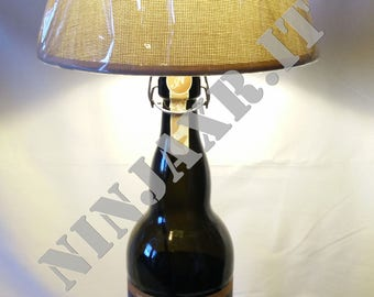 Table lamp Bottle Beer Amarcord 2 litres empty reuse recycling creative idea gift furnishing furniture bottle lamp beer upcycled