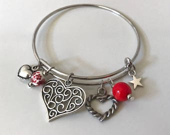 Bangle with red beads, rigid bracelet, love bracelet