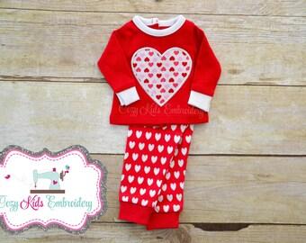Valentine's Day doll pajamas personalized monogram name pjs