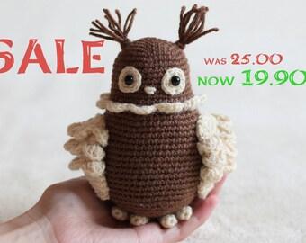 Cute amigurumi owl - birthday gift, personalized Valentine gift owl, crochet amigurumi owl READY TO SHIP