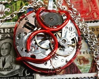 Red Wire-Wrapped Pocket Watch Pendant