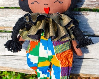 african american black doll, african print, gold, multicoloured hair bow, birthday gift, art doll, baby doll, gift for her, black doll