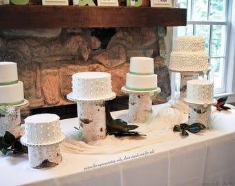Custom White Birch Log Cake Stand