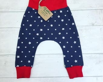 Handmade baby harems pants trousers, Size 0-3 months  grey stars fabric,  gender neutral.