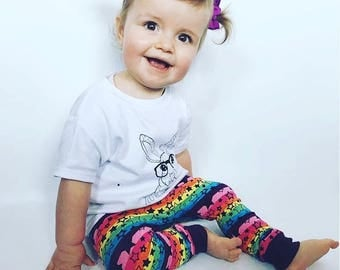 Handmade baby harems pants trousers, Size 9-12 months  rainbow stars fabric,  gender neutral.