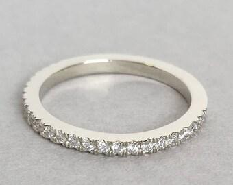 Eternity Ring,Half Eternity Band, Diamond Wedding Band, White Gold Wedding Band, Eternity Wedding Band, Diamond Wedding Band