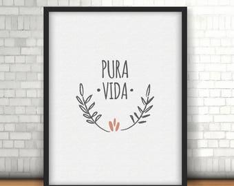 Printable Poster / Pura Vida. Life quote / Minimalist Wall art simil paper texture / Afiche símil textura papel . INSTANT DOWNLOAD
