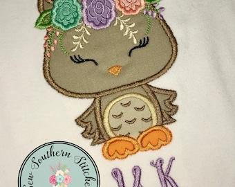 Floral Owl Applique Design ~ Owl with Floral Crown ~ Instant Download