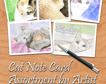 Cat Note Cards Set, Cat Stationary Set, Cat Note Card Set, Watercolor Cat Cards Set, Cat Thank You Cards, Gift for Cat Lover, Cat Stationery