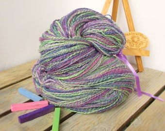 Handspun yarn Knitting yarn Wool yarn Hand dyed yarn Lila yarn 2 ply yarn Soft wool/viskose yarn Gradient yarn,Large Skein 135g/4,76 OZ
