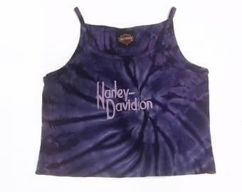 Harley Davidson Purple Tie Dye Halter Tank Crop Top