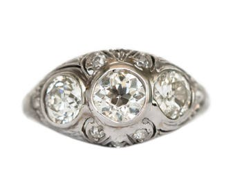Circa 1920s Art Deco Platinum .55ct Old European Brilliant & .90ct Diamond Engagement Ring - VEG#1058