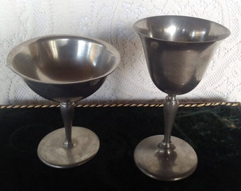 Pewter Fluted Goblets and Bowls