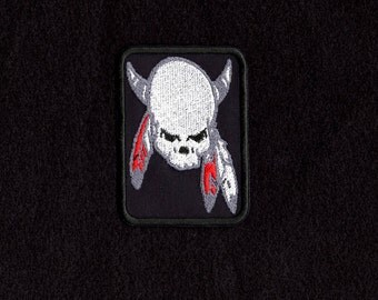 Warrior Skull headdress patch Iron to Sew on Badge