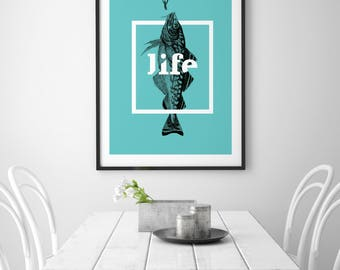 Poster | Illustrated Poster | Wall Decor | Minimal Print Poster | Home Decor | Poster Design | Postcard  | Life  | Fish