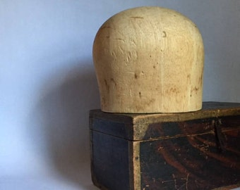 vintage balsa wood hat stand form block millinery mold, aged surface & patina, found object rustic modern decor, from a former milliner