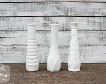 Vintage Milk Glass Vases - Set of 10 - Assorted Textures and Styles - Home and Wedding Decor