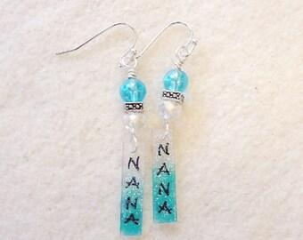 Nana earrings,Grandma earrings,Mom gift,Mom jewelry,Mother's Day gift, Gifts for mom, Dangle mom jewelry, Mother earrings,Grandma gift(#560)