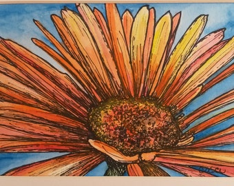 Colorful Calendula - Original Matted Painting