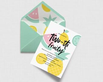 "Pastel Two-tti Fruity 5"" x 7"" Invitation - Fruit Second Birthday - Digital or Printed"