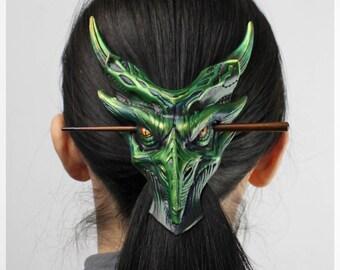Dragon hair pin, Fantasy hair clip, Dragon hair stick, Leather hair clip, Dragon egg, Dragon necklace, Dragonage cosplay, Hair accessories