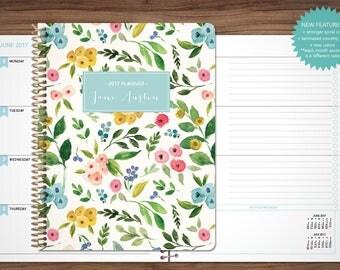 2017 planner custom 2017 2018 planner student planner HORIZONTAL LAYOUT - TABS weekly calendar agenda / colorful watercolor floral