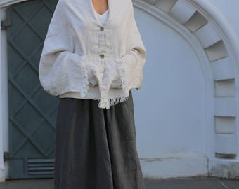 Washed linen scarf / Linen shawl / Softened linen scarves / Large natural linen shawl with pockets / washed linen top