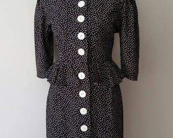 Peplum dress, S, M, polka dot dress, button front dress, black dress, 80's dress, career dress, formal dress, black white dress