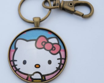Hello Kitty Glass & Metal Keychain